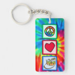 Peace, Love, Snare Drum Single-Sided Rectangular Acrylic Keychain