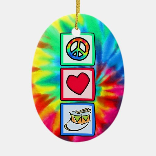 Peace, Love, Snare Drum Double-Sided Oval Ceramic Christmas Ornament