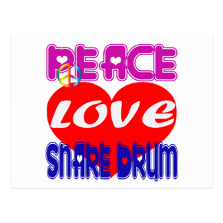Peace Love Snare Drum Post Card