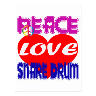 Peace Love Snare Drum Post Cards