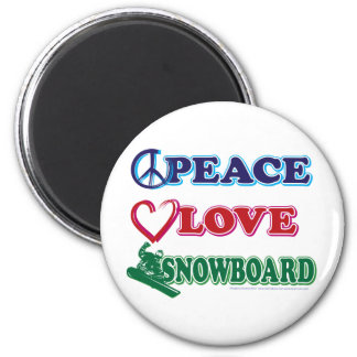 Peace-Love-Snow-Board 2 Inch Round Magnet