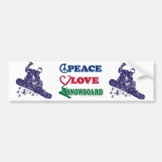 Peace-Love-Snow-Board Car Bumper Sticker