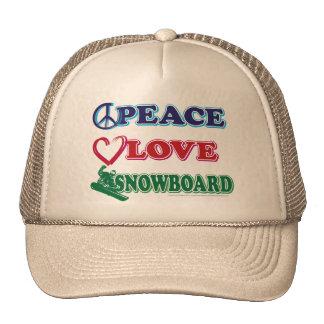 Peace-Love-Snow-Board Trucker Hat
