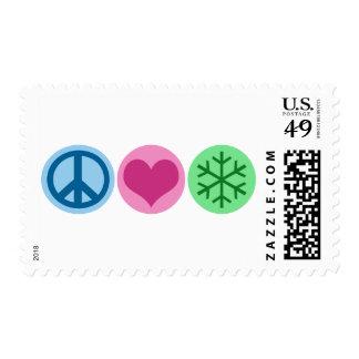 Peace Love Snow Postage