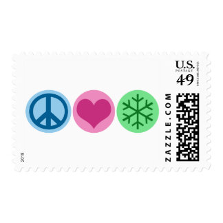 Peace Love Snow Postage Stamps