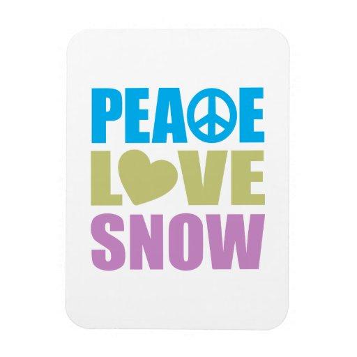 Peace Love Snow Rectangular Magnets