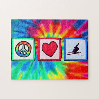 Peace, Love, Snow Skiing Jigsaw Puzzle
