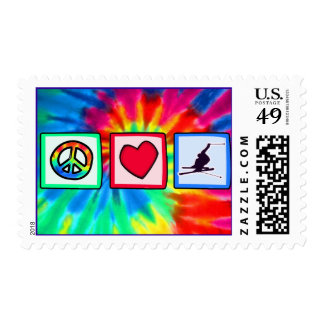 Peace, Love, Snow Skiing Postage