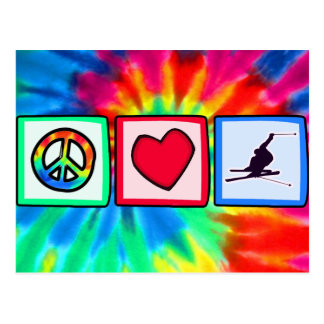 Peace, Love, Snow Skiing Post Card