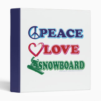 Peace Love Snowboarding 3 Ring Binder