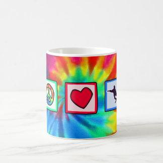 Peace, Love, Snowboarding Coffee Mugs