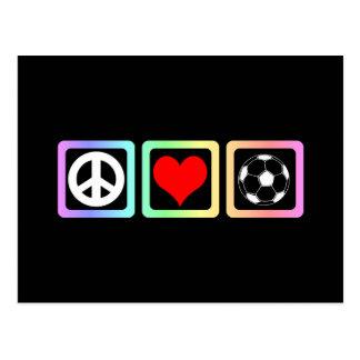Peace love socccer postcard