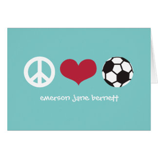 Peace, Love, Soccer Aqua Card