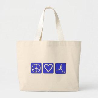 Peace Love Soccer Canvas Bags