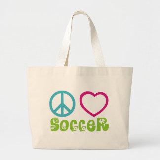 Peace, Love, Soccer Jumbo Tote Bag