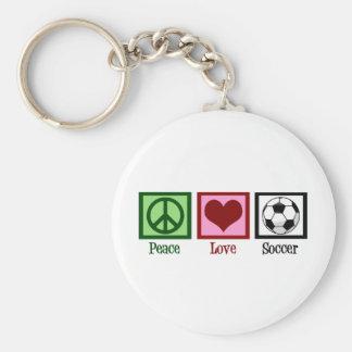 Peace Love Soccer Basic Round Button Keychain