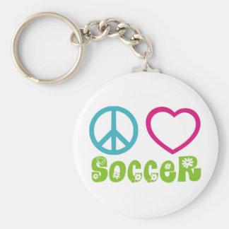 Peace, Love, Soccer Basic Round Button Keychain