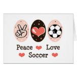 Peace Love Soccer Blank Note Card