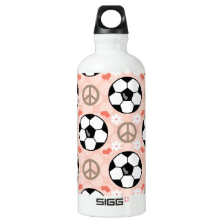 Peace Love Soccer BPA Free Aluminum Water Bottle