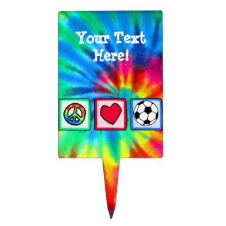 Peace, Love, Soccer Cake Topper