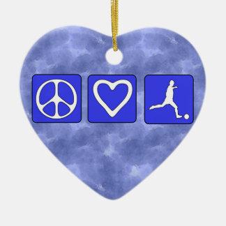 Peace Love Soccer Ceramic Ornament