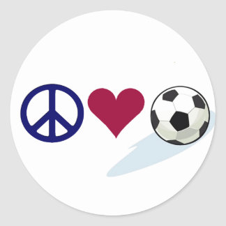 peace - love - soccer classic round sticker