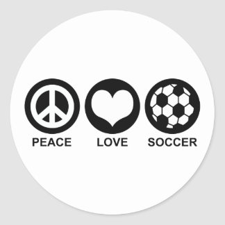 Peace Love Soccer Classic Round Sticker