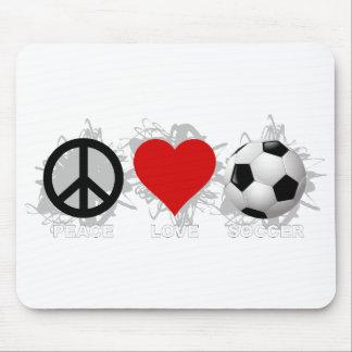 Peace Love Soccer Emblem Mouse Pad