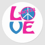 Peace, Love, Soccer Gifts and Apparel for Women Round Stickers