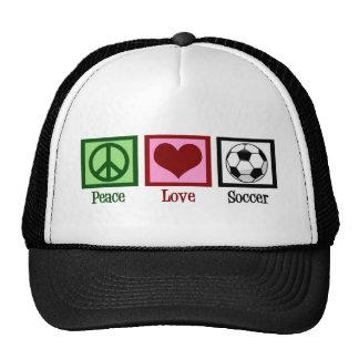 Peace Love Soccer Trucker Hat