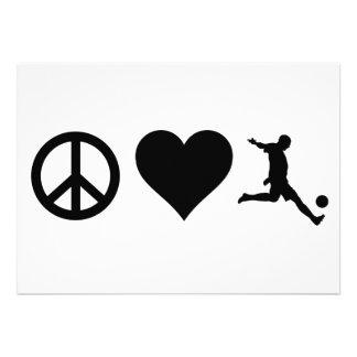 Peace Love Soccer Personalized Invite