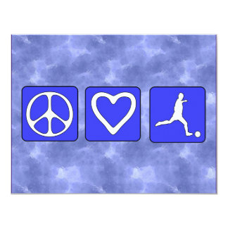 "Peace Love Soccer 4.25"" X 5.5"" Invitation Card"