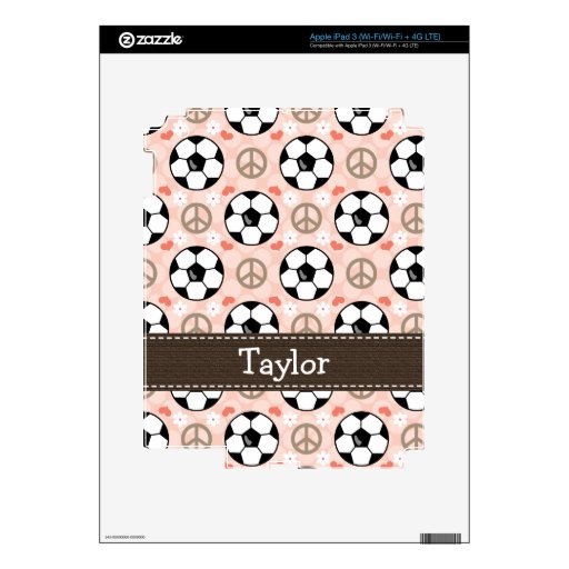 Peace Love Soccer iPad 3 Skin