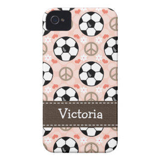 Peace Love Soccer iPhone 4 4s Case-Mate Cover iPhone 4 Case