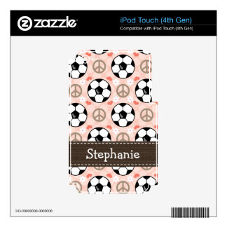 Peace Love Soccer iPod Touch Skin 4th Gen 4g