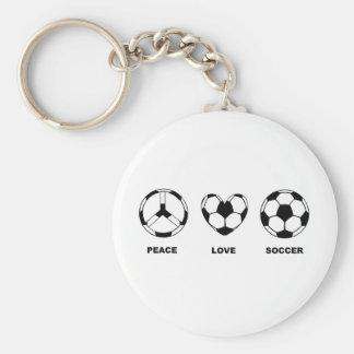 Peace Love Soccer Keychain