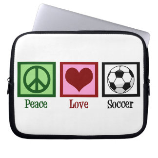 Peace Love Soccer Laptop Computer Sleeves