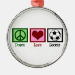 Peace Love Soccer Metal Ornament