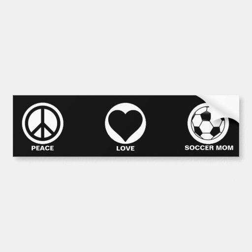Peace/Love/Soccer Mom Car Bumper Sticker