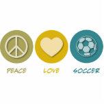 Peace Love Soccer Photo Sculpture Ornament