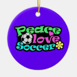 Peace, Love, Soccer; Retro Ceramic Ornament