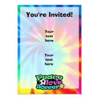 Peace, Love, Soccer; Retro 5x7 Paper Invitation Card