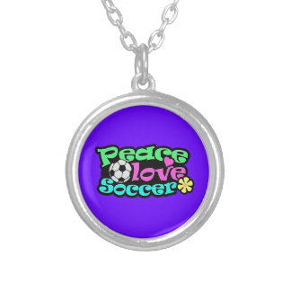 Peace, Love, Soccer; Retro Personalized Necklace