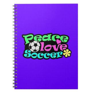 Peace, Love, Soccer; Retro Spiral Note Book