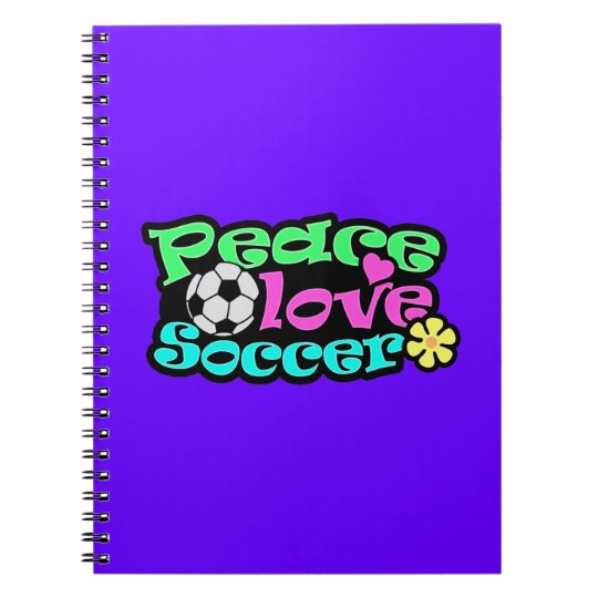 Peace, Love, Soccer; Retro Notebook