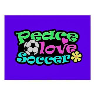Peace, Love, Soccer; Retro Poster
