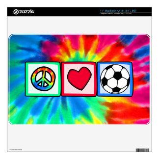 Peace, Love, Soccer Skins For MacBook