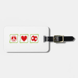 Peace Love Soccer Square Tag For Luggage