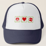 Peace Love Soccer Square Trucker Hat
