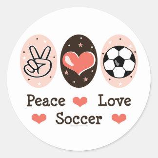 Peace Love Soccer Sticer Classic Round Sticker